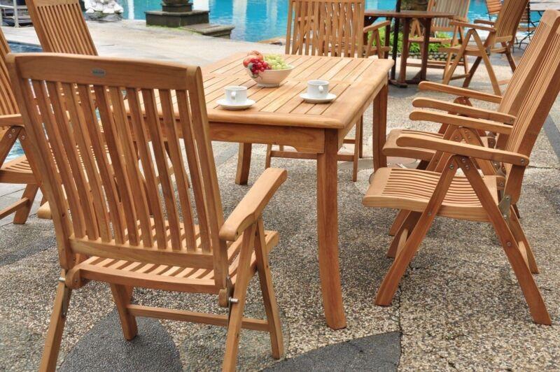 "7 Pc Teak Reclining Chairs Garden Outdoor Patio Furniture Marley (83"" Rect Tbl)"