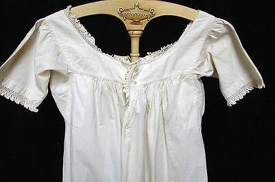ANTIQUE 1800S VICTORIAN CREAM WHITE COTTON CORSET COVER SLIP NIGHTGOWN