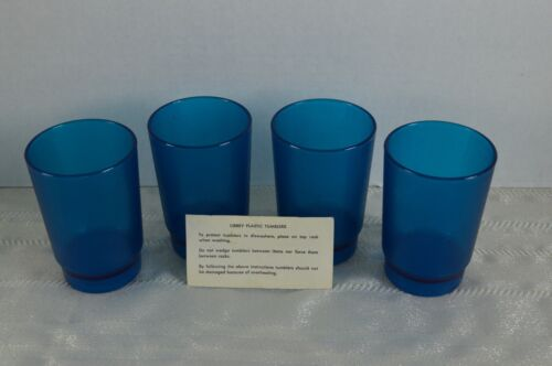 VTG Mid Century Blue Tumbler Set Of 4 Frosted Plastic Glasses Tumblers by Libbey