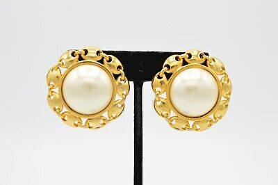 Paolo Gucci Signed Statement Earrings Clip On Faux Ivory Pearl Gold Vintage 80s