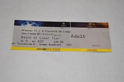 Ticket Arsenal FC - Standard de Liege - Champions League - 24-11-2009 - Football