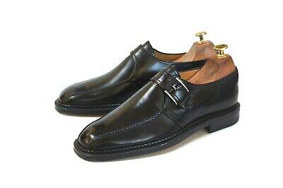 "a.Testoni Men's Black Leather Monk Strap Shoes Size 9 ""Italian Made""/Top Shelf"
