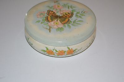 Vintage Daher Decorated Ware English Round Tin Box, Made In England,Butterfly