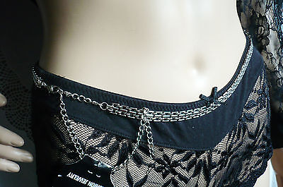 Kette Bikini-top (Körper Kette, Bauchkette, Bikini, silber, Metall, Glieder mehrreihig, NEU + TOP)