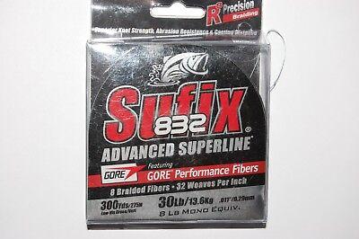 sufix 832 fishing line braid 30lb 300yd spool lo-vis green 660-130g superline - Line 300yd Spool