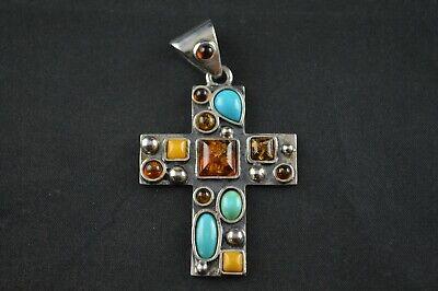 Vintage Sterling Silver Cross Pendant w Brown Turquoise & Yellow Stones - 13g (Brown Sterling Silver Cross)
