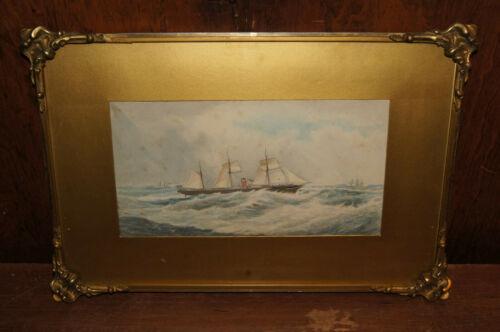 Original Dated 1882 T. Merrett Steamship or Steam Yacht Watercolour Painting