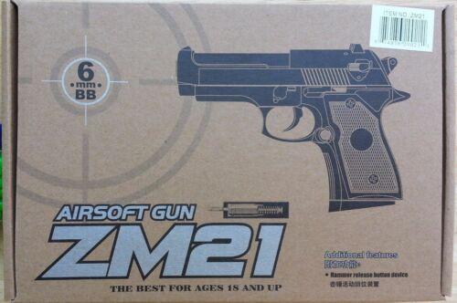 1 New Airsoft Hand Gun ZM21 Black Diecast Metal Spring Pistol 6mm 0.12g BB BBs