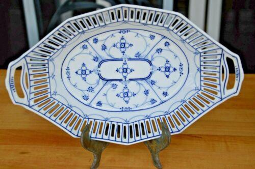 "Schumann Reticulated Blue Onion 10.5"" Plate Echt Cobalt Bavaria Germany"