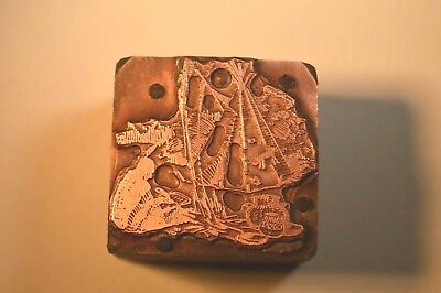 Antique Letterpress Printing Printer Block Depicting Native American Indian