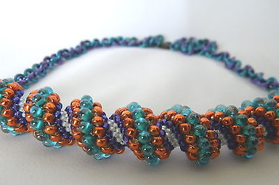 Spiral Peyote Stitch Beadwork Seed Bead Cellini Jump Rings Necklace Teal Orange ()