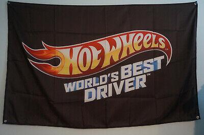 HOT WHEELS World Best Drivers Flag Banner Man Cave Car Store Garage 5x3 Feet
