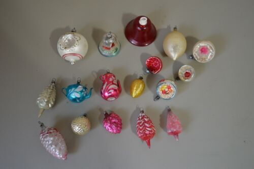 Lot of Vintage Christmas Tree Ornaments Germany USA Indent Teapots Pinecone