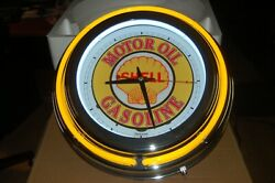 Shell Motor Oil Gas Double Neon Wall Clock Great For Garage Man Cave