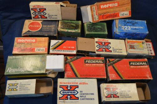 LOT OF 16 OLD BULLET SHELL BOXES EMPTY,CARTRIDGE,WINCHESTER,REMINGTON,VINTAGE
