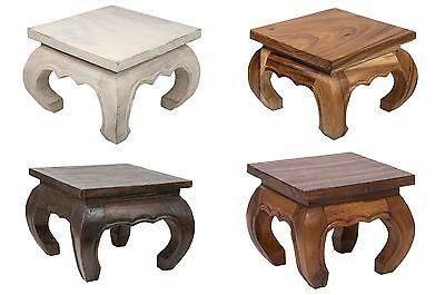 Braun Holz Beistelltisch (Opiumtisch massiv Holz Beistelltisch Tischchen Holz Holztisch Tisch braun)