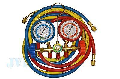 R12 To R134a Ac Refrigerant Manifold Gauge Set Hvac Ac W 5ft Charging Hoses