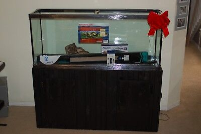 Brand New 120 Gallon Fish Tank With New custom Cabinet and Many Accessories