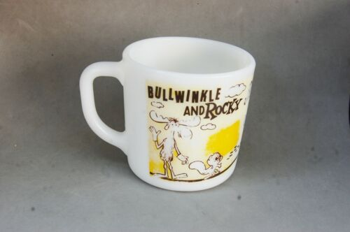 Rocky & Bullwinkle Milk Glass Mug Cup Vintage Pat Ward Cartoon Character