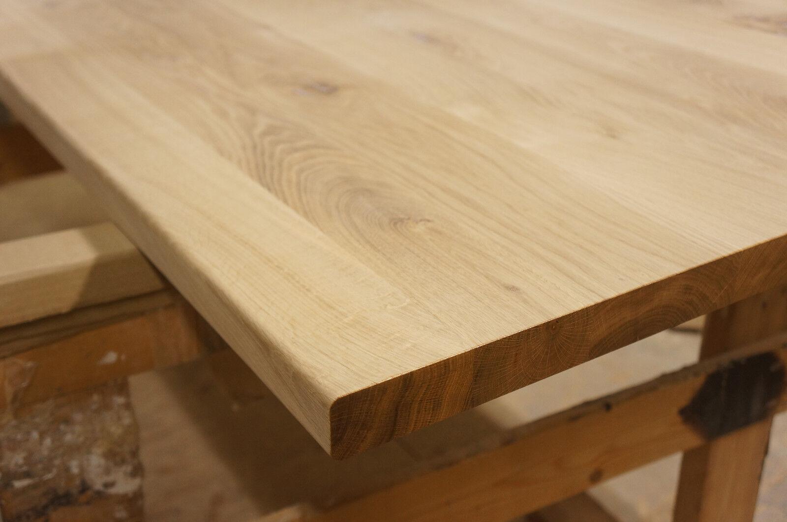 tischplatte arbeitsplatte massivholzplatte esstisch eiche rustikal 40mm roh holz eur 126 05. Black Bedroom Furniture Sets. Home Design Ideas