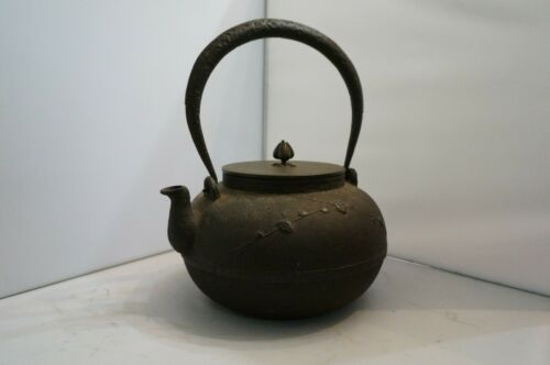 Antique Ryubundo Early Japanese Teapot Iron w/ Bronze Lid Signed Large Treasure!