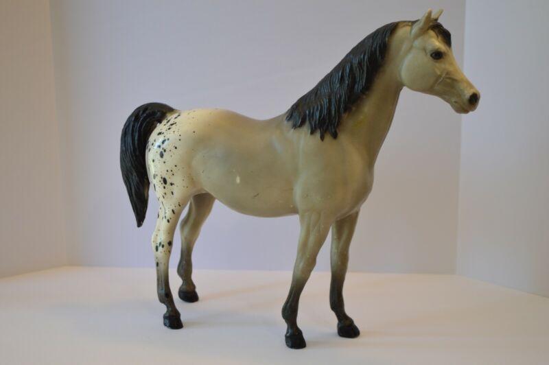 Vintage Breyer Horse Model Figurine Gray with Black Spots on White