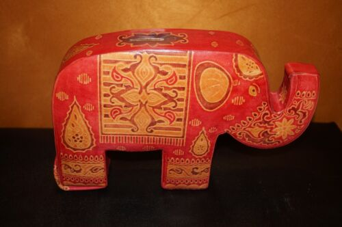 Indian Elephant Embossed Leather Coin RARE Bank Handcrafted Made in India