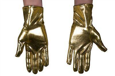 Handschuhe Damen Herren Karneval Halloween Metallic Look Glänzend Gold Roboter