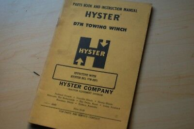 Cat D7n Caterpillar Tractor Hyster Towing Winch Owner Operator Parts Manual Book