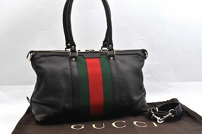 Authentic GUCCI Web Sherry Line Shoulder Hand Bag 2Way Leather Brown 95793