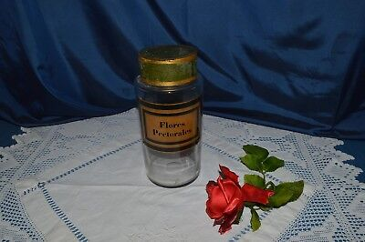 Antique Jar Apothecary Pharmacy Flores Pectoral Glass Souffle