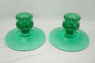 "Vintage Green Depression Glass (2) Taper Candlestick Candle Holder 3-1/4"" x 5"""