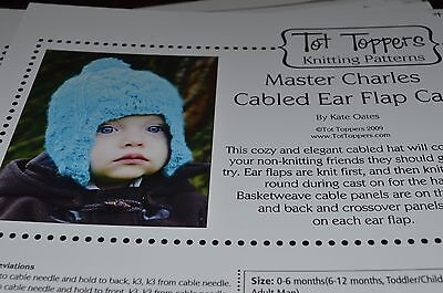 - Tot Toppers Hat Knitting Pattern Master Charles Cabled Ear Flap NB to Adult