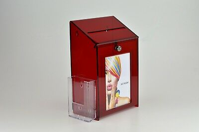 Lockable Collection / Suggestion Box + 1/3rd A4 Leaflet Holder PDS9463 RedTintLH