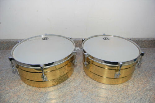 "LP Genuine Solid Brass Tito Puente 13/14"" Timbales With Stand"