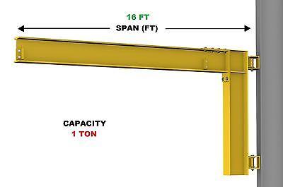 Gorbel Cantilever Jib Crane - 1 Ton Capacity Span 16 Ft Wall Mounted