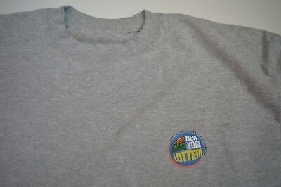 Vtg New York Lottery Logo Grey Long Sleeve Shirt Mens Size Xl