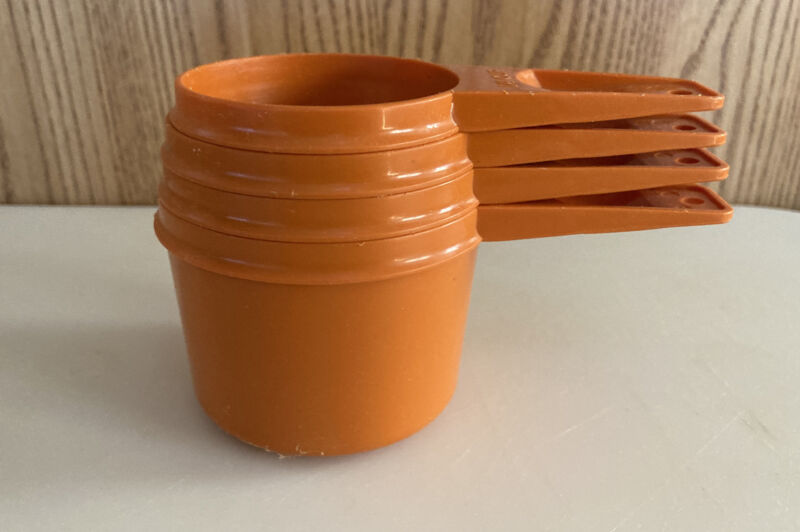 Vintage Tupperware Harvest Orange  Nesting Measuring Cups Complete Set of 4