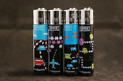 4 pcs New Refillable Clipper Full Size Lighters Atari Design
