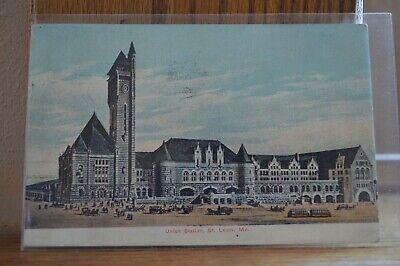 1908 Union Station St Louis Missouri Litho Chrome Postcard - St Louis Chrome