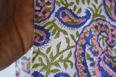 2.5 Yard Paisley Hand Made Block Print Fabric Beautiful Indian 100% Cotton (@)