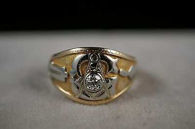 14k Yellow Gold Daimond Freemason Masonic Ring Size 11 Mens Mason Ring
