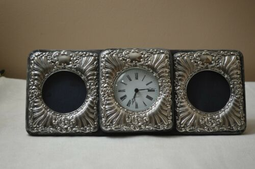 Vintage Keyford Frame Sterling Silver Repousse Triple Picture Frame W/Work Clock
