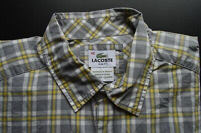 LACOSTE GREY PLAID CHECK MENS 100% COTTON SLIM FIT CASUAL DRESS SHIRT SIZE: 42
