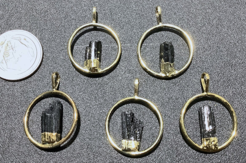 Bulk Wholesale Lot Of 5 Pieces Tourmaline Crystal Point Gold Hoop Necklace