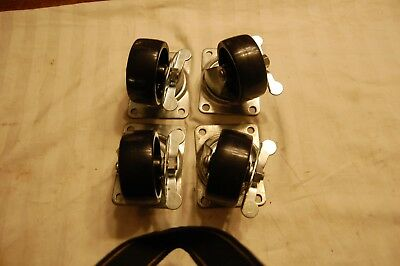 Set Of 4 Usa Made 3 Locking Swivel Casters 1-14 Wide