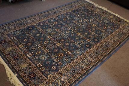Genuine Elegant Persian Silk Machine Made Carpet Isfahan Rug Blue