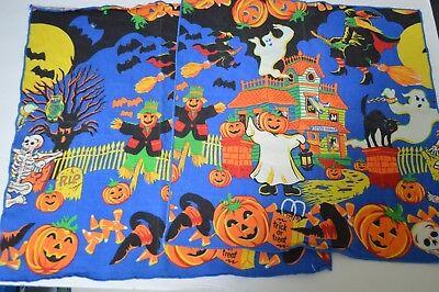 Vintage Halloween Folk large cloth napkins decor Pumpkin witch ghost house (Halloween Cloth Napkins)