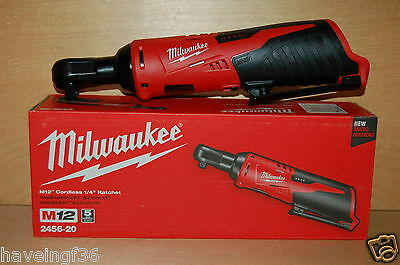 New  Milwaukee  2456-20  1/4 in. Cordless M12 Lithium-Ion Ratchet  Tool Only