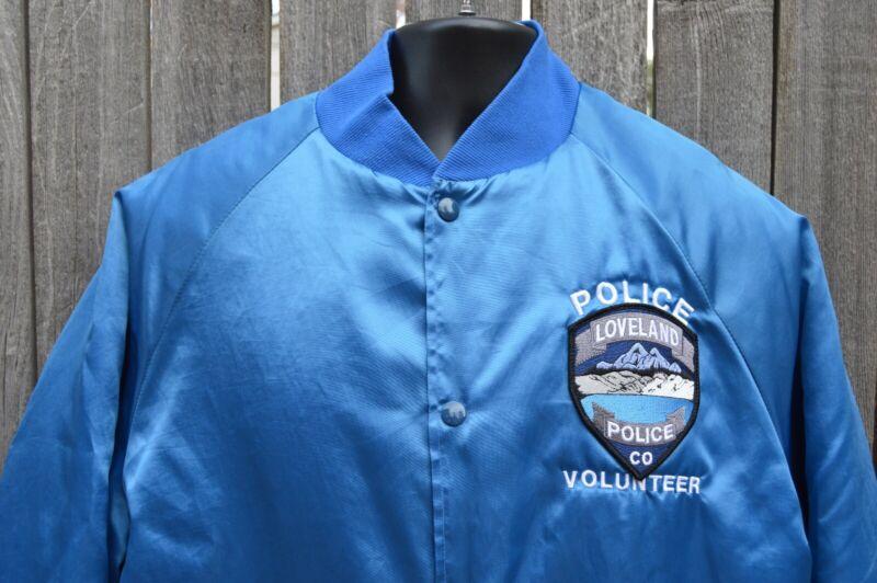 Loveland CO Police Volunteer Satin Coat. Made in the USA. Mens Large.100% Nylon